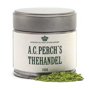 En dåse matcha te fra A.C. Perchs Thehandel
